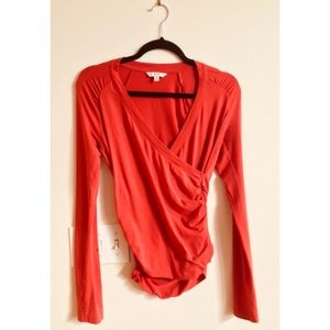 CAbi Top Faux Wrap Hanky Long Sleeve Red Size S